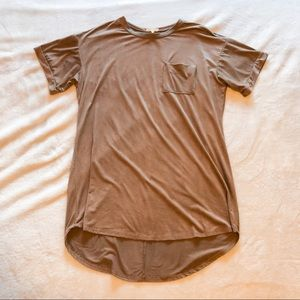 Necessary Clothing   Tan Faux Suede T-shirt Dress